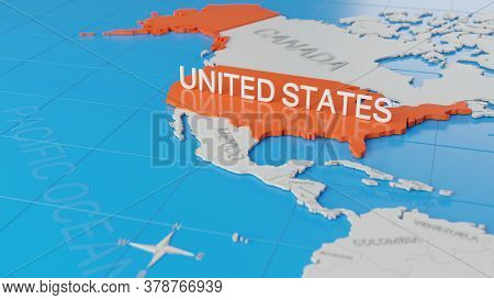 United States Highlighted On A White Simplified 3d World Map. Digital 3d Render.