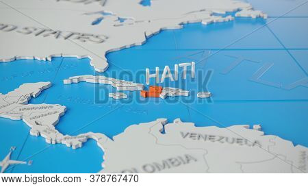 Haiti Highlighted On A White Simplified 3d World Map. Digital 3d Render.