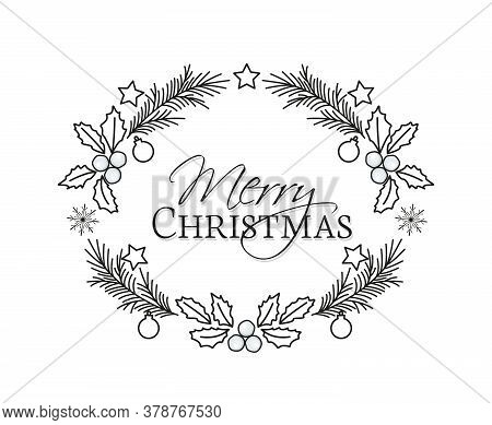 Vector Illustration Of Christmas Frame With Pine Branches And Mistletoe. Happy Christmas Greeting Ca