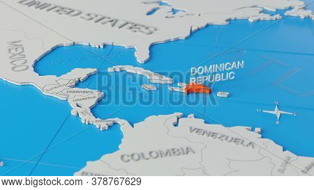 Dominican Republic Highlighted On A White Simplified 3d World Map. Digital 3d Render.