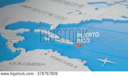 Puerto Rico Highlighted On A White Simplified 3d World Map. Digital 3d Render.