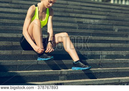 Preparing. Female Runner, Athlete Training Outdoors. Professional Runner, Jogger Working Out On The