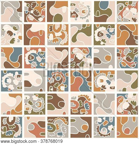 Seamless Background Playful Doodle Mosaic. Gender Neutral Baby Pattern. Simple Whimsical Earthy 2 To