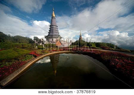 Large Pagoda On Top Of Mountain .