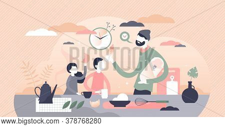 Fatherhood Parenting Scene With Husband Caring Children Flat Tiny Person Concept. Family Relationshi