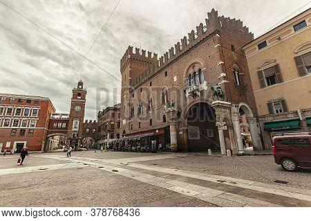 Ferrara, Italy 29 July 2020 : Piazza Del Municipio In Ferrara In Italy A Famous Square In The City