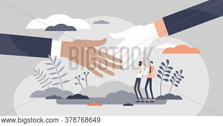 Handshake Greeting As Business Deal Communication Flat Tiny Person Concept. Partner Successful Agree