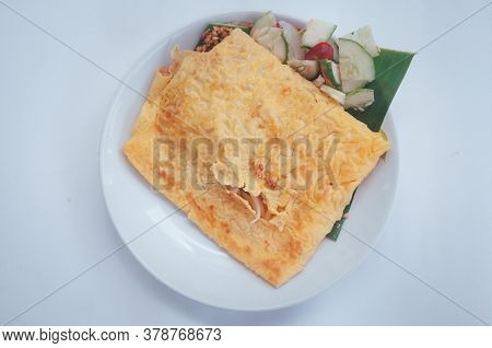 Stuffed Crispy Egg Crepe. Vietnamese Savory Crepe. Thailand Food