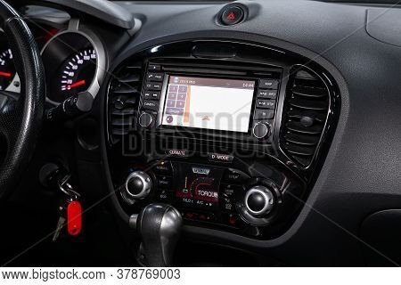 Novosibirsk/ Russia - April 28  2020: Nissan Juke,  Close-up Of The Central Control Panel, Monitor W