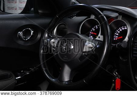 Novosibirsk/ Russia - April 28  2020: Nissan Juke,  Auto Interior: Steering Wheel With  Logo    And