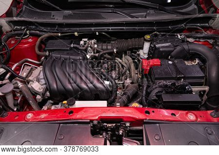 Novosibirsk/ Russia - April 28  2020: Nissan Juke,  Close Up Of A Clean Motor Block. Internal Combus