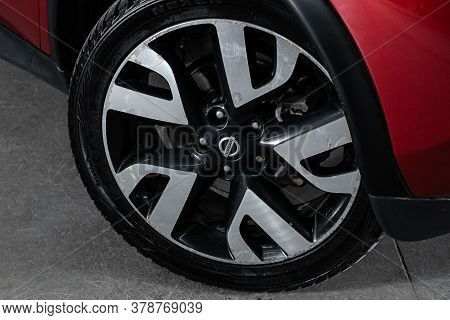 Novosibirsk/ Russia - April 28  2020: Nissan Juke,  Car Wheel With Alloy Wheel And New Rubber On A C