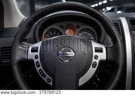 Novosibirsk/ Russia - April 28  2020: Nissan X-trail,  Auto Interior: Steering Wheel With  Logo    A