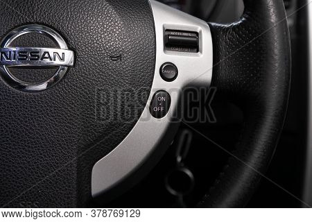 Novosibirsk/ Russia - April 28  2020: Nissan X-trail,  Car Controller On Steerling Wheel ,music,cont
