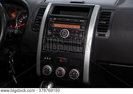 Novosibirsk/ Russia - April 28  2020: Nissan X-trail,  Close-up Of The Central Control Panel, Monito