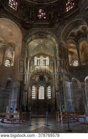 Ravenna, Italy.  July 28, 2020. Indoor View Of The Basilica Of St. Vitale