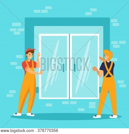 Workers Installing Plastic Windows. Construction Or Repair Service.