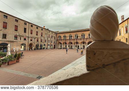 Ferrara, Italy 29 July 2020 : Piazza Municipale In Ferrara, A Famous Square In The Historical City C