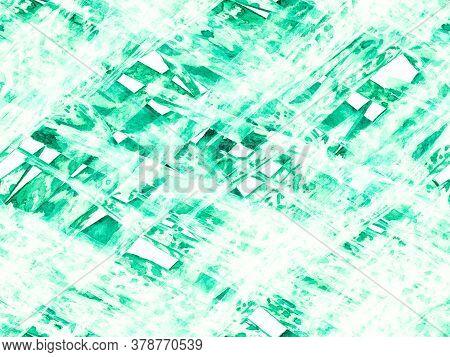 Exotic Swimwear Design. Hawaii Aquarelle Print. Green And Aqua Menthe Watercolor Leaves Seamless Pat