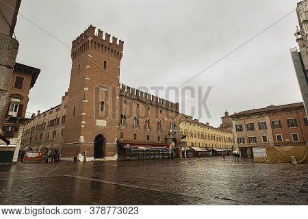 Ferrara, Italy 29 July 2020 : View Of Piazza Del Municipio In Ferrara In Italy Full Of People