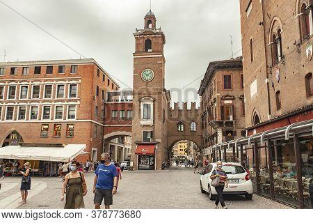 Ferrara, Italy 29 July 2020 : Piazza Del Municipio In Ferrara In Italy A Famous Square In The City F