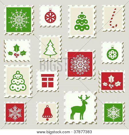 Postage Stamps Winter set