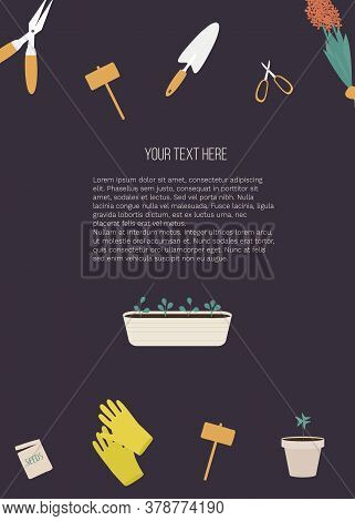 Banner With Garden Tools And Place For Your Text On Purple Background. Vector Illustration Eps 10. T