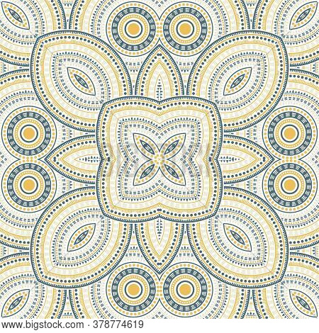 Intricate Moroccan Zellige Tile Seamless Pattern. Ethnic Geometric Vector Swatch. Carpet Print Desig