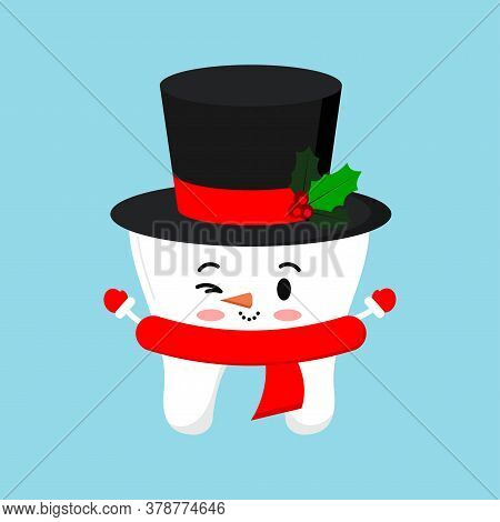 Cute Chistmas Tooth In Snowman Costume - Black Hat With Mistletoe Red Scarf Icon In Cartoon Flat Sty