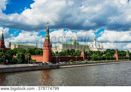 The Moscow Kremlin And The Moscow River On A Warm Summer Day Against A Stormy Sky. Moscow, Russia-ju