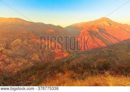 Aerial View Of Kings River Canyon At Sunset On Top Of Sierra Nevada And Sequoia National Forest. Kin