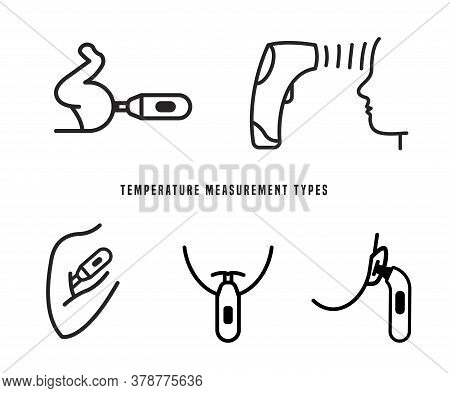 Measuring Temperature. Measurement Types. The Most Accurate Way To Measure. Fever Sign. Heat Icon. M