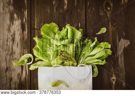 Lettuce Leaveson In A Paper Bag A Wooden Dark Table. Batavia Salad. Authentic Still Life With Green