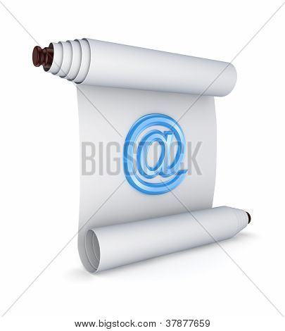 Ancient scroll with blue AT symbol.
