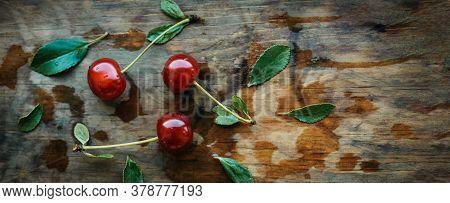 Ripe Cherries On A Wooden Windowsill. Cottagecore Aesthetics. Rustic, Vintage Style Juicy Summer Con
