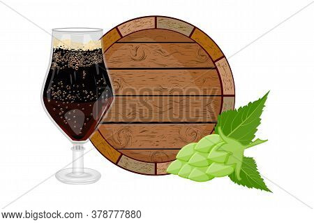 Glass Of Dark Beer, Wooden Barrel And Hop Isolated On White Background. Logotype For Oktoberfest Bee