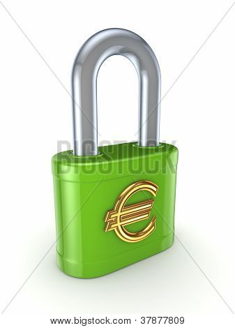 Green lock with golden euro sign.