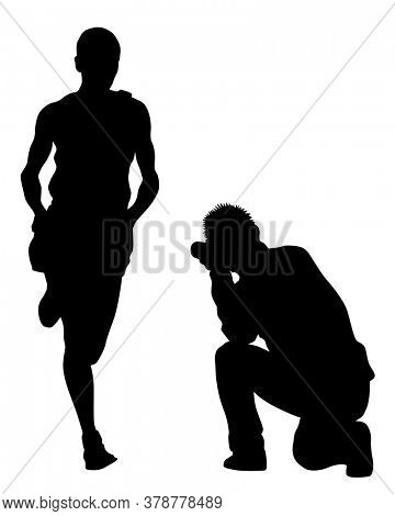 Photograph and photo camera and runner, . Isolated silhouettes of people on white background