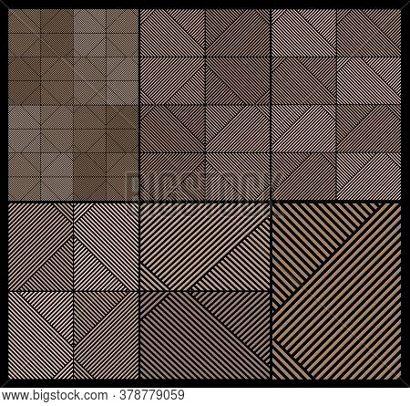 Vector Illustration. Set Of Geometric Texture Prints With Stripes. Art Deco. Backgrounds