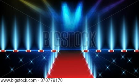 Abstract Futuristic Background Of Blue Empty Stage Stairs Covered With Red Carpet And Lighting Spotl