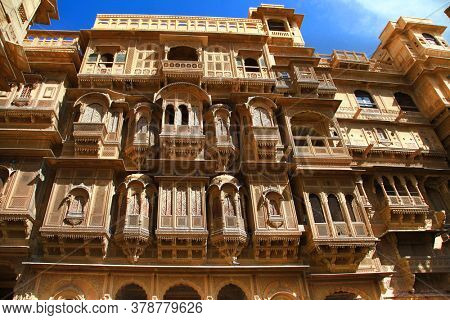 Golden city of India - wonderful Jaisalmer with carved traditional buildings in Mughal style. Rajastan
