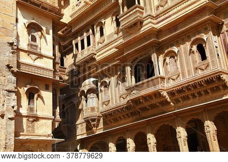Golden city of India - wonderful Jaisalmer with carved traditional buildings Mughal style. Rajastan