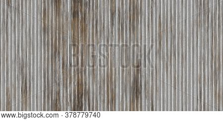 Dirty Gray Corrugated Metal Texture. Crimp Fence Background. Ribbed Metallic Surface. Wavy Iron Wall