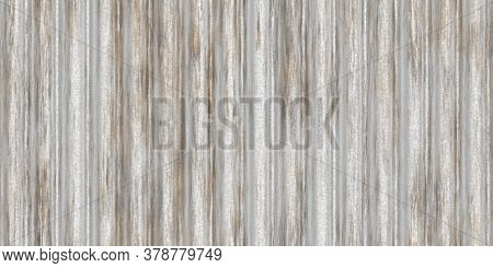 Dirty White Fluted Metal Fencing Backdrop. Corrugated Metal Texture. Crimp Fence Background. Ribbed