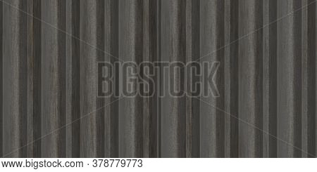 Dirty Dark Crimp Fence Background. Ribbed Metallic Surface. Wavy Iron Wall Pattern. Fluted Metal Fen