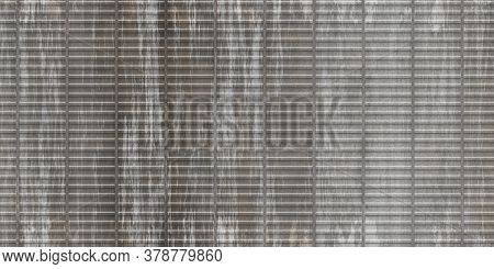 Dirty Gary Crimp Fence Background. Ribbed Metallic Surface. Wavy Iron Wall Pattern. Fluted Metal Fen