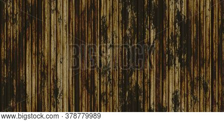 White Weathered Rust Corrugated Metal Texture. Crimp Fence Background. Ribbed Metallic Surface. Wavy