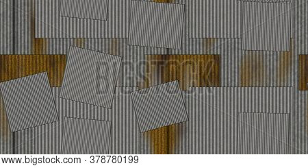 Steel Rustic Sheets Corrugated Metal Texture. Crimp Fence Background. Ribbed Metallic Surface. Wavy