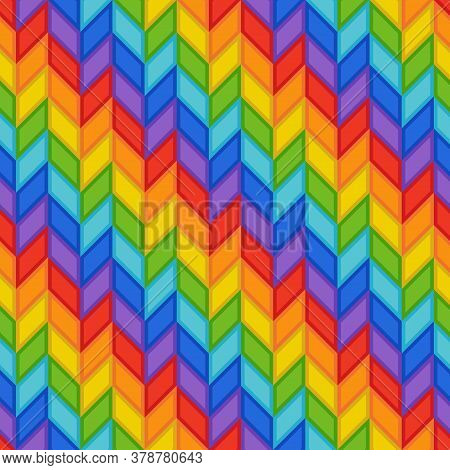 Geometric Seamless Pattern Of Rainbow Stripes Of Blue, Orange, Red, Green, Violet, Yellow Rhombs. Co