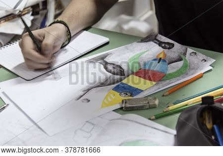 Athens, Greece - May 18, 2016: Original Art Drawing School  With Colored Pencil